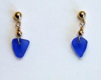 Sea Glass & 14k Gold Filled Post Earrings, Cornflower Blue, Rockport Cape Ann MA