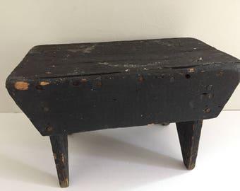 Vintage Rustic Black Wooden Step Stool