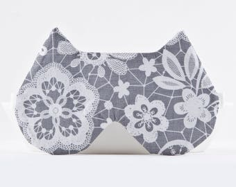 Gray Sleep Mask, summer outdoors, Lacy Lingerie, Cat Lover Gift, Night Mask, Girlfriend Gift, Floral Lace mask, Slumber Party Favors
