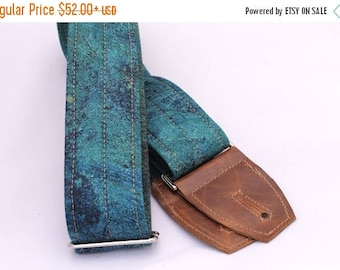 ON SALE this week only Guitar Strap in Azurite Stone - Leather Suede Ends and Optional Pick Pouch