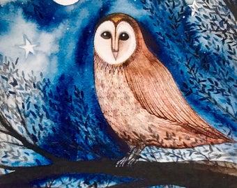 Barn owl blank greetings card, fine art card