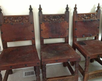 Set of 4 Antique Heavy Carved Wood & Leather Chairs from Mexico