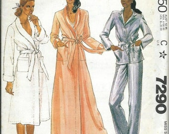 ON SALE McCall's 7290 Misses Robe and Pajamas Pattern, Size Medium, UNCUT