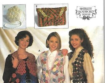 ON SALE Simplicity 9215 Shirley Botsford Yo Yo Vests And Handbags Pattern, S, M-L, Uncut