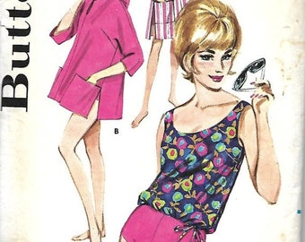 ON SALE Butterick 3077 VTG Sports Wear, Misses Beach Coat Or Jacket And Two-Piece Bathing Suit Sewing Pattern, Size 12