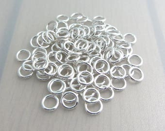 90 Silver Plated Closed Jump Rings, 6mm Jump Rings, Jewelry Craft Supply, Destash