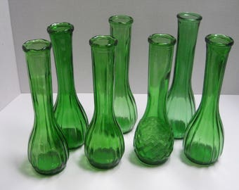Lot of Seven Green Glass Bud Vases, Wedding Decorations