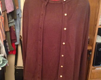 1980's Designers Originals 40 Large Women's Knit Cardigan and Sweater Twin Set Brown