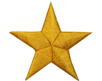 ID 3449 Yellow Star Patch Symbol Space Night Sky Embroidered Iron On Applique