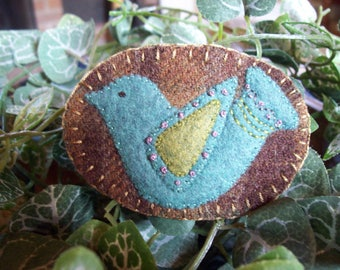 Little Victorian Blue Bird Brooch Felt Pin