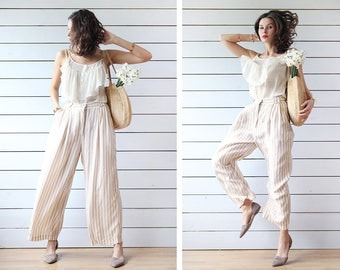 Vintage beige white vertical striped viscose relaxed summer wide leg palazzo short capris culottes pants M