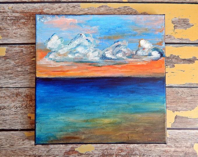 Seascape Canvas Art | Coastal Painting | Ocean Art | Beach Decor | 10x10 | Apricot Sky | Saltons Cove Studio