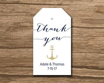 Rustic Wedding Favor Tag, Wedding Thank You Tag, Hang Tag, Favor Tag - PRINTABLE file - nautical, navy, anchor, bombshell - Adele