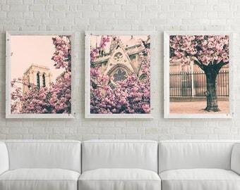 Cherry blossom art, Paris photography, extra large wall art, Paris wall art, Notre Dame, pink wall art, Paris prints,wall art canvas,gallery