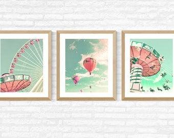 Nursery wall art, nursery decor, hot air balloon nursery, girl nursery decor girl, toddler girl room decor, ferris wheel art, print set,pink