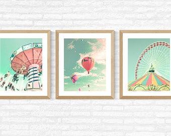 Nursery wall art, girl nursery decor girl, hot air balloon nursery, nursery decor, toddler girl room decor, ferris wheel art, print set,pink