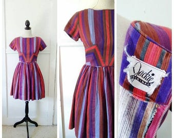 20% OFF / Candy Drops 1950s Petite Brown/Purple/Green/Red/Blue/Grey Vertical Striped Cotton Dress