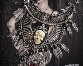 Silver bib necklace feathers calavera dia los muertos ♰Skull♰