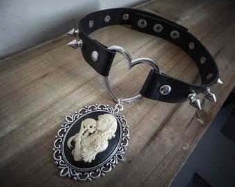 Peaks leather bib necklace silver goth punk calavera dia los muertos ♰Sleepy Hollow♰