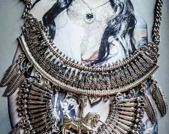 Unicorn Fantasy steampunk silver bib necklace