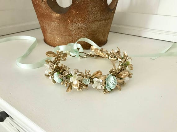 mint and glistening gold flower crown- gold halo- well dressed wolf