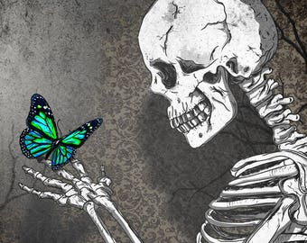 The skeleton butterfly,original artwork,digital print,skulls poster,skulls art,gothic,wallpaper,skull,black & white,butterfly,wall decor