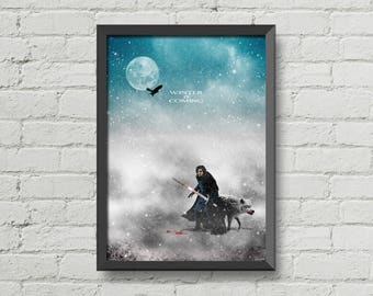 Jon snow,games of thrones,Winter is coming,geek gift,gift idea,poster,digital print,movie poster,christmas gift,wall art,home decor,