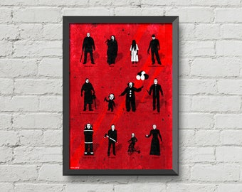 Best Horror Villains,Horror poster,movie poster,Friday the 13th,Halloween,A nightmare on elm street,The shining,movie villains,gift,horror