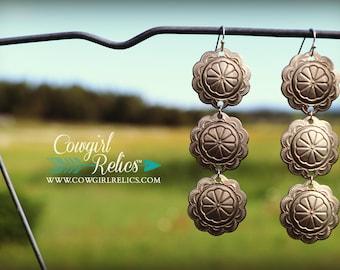 Cowtown Western Concho Earrings, Western Chic, Statement Earrings, Southwest Earrings