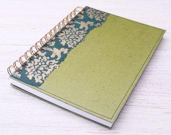 Blank Green Notebook / green journal / eco friendly recycled notebook / sketchbook / unlined notebook / art journal / travel journal