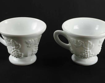 2 Indiana Glass Colony Harvest Milk Glass Cups Vintage Footed Pedestal
