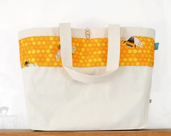 Bee Large Tote Bag, Canvas Tote, Reusable Shopper Bag, Shopping Bag, Eco Tote Bag, Reusable Grocery Bag