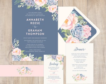 Suculent Wedding Invitation with succulents and blush flowers, blues, modern design, spring or summer wedding, full paper suite