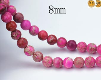 reserved for Jackie--- 30 strands Imperial Jasper smooth round 8mm and 30 strands Iron pyrite smooth round beads 8mm