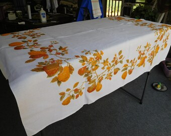 "Vintage Luther Travis Off-White TABLECLOTH 52"" x 48"" Fruit Design"