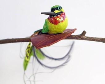 Bee-Eater Fascinator, little hummingbird grip, birdie hair slide, faux taxidermy bird ornament
