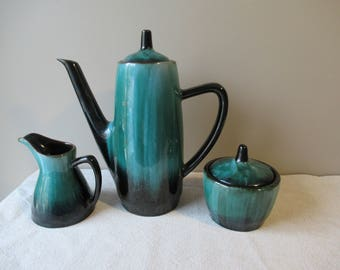 Vintage Tea Set, Teapot, Creamer and Sugar Bowl, Teal Ceramic Tea Set, Blue Mountain Pottery, Canada