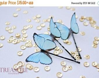 SALE Light blue butterfly hair pin, light blue butterfly hair jewelry, handmade butterfly, exotic butterfly, bridal jewelry, wedding jewelry