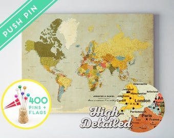 Anniversary Gift for Man Personalized Travel World Map Custom Pinboard - High Detailed - 240 Pins + 198 World Flag Sticker Pack Included