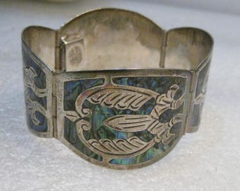 """Mexico Sterling 4 Panel Bracelet, Inlaid Abalone, 7"""", 35.82 Grams, Signed TJB"""