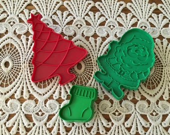Vintage Christmas Cookie Cutters, Santa, Christmas Tree, Stocking, Holiday Baking, Kitchen Tools and Utensils