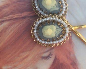 Blue Rose Cameo Bridal Hair Pins 1930 1940 Vintage  Fairytale Fantasy Rose Filigree Romantic Decorative Bobby Pins