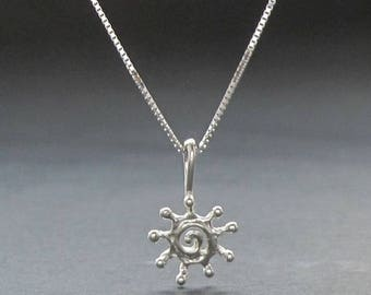TINY Silver SUN Spiral pendant solid sterling necklace made in USA