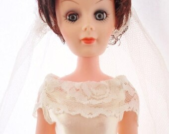 "ON SALE Vintage 1962 Plated Molded Arts Fashion 15"" Doll, Wearing a Wedding Gown, Veil, Whte Heels, Vinyl, Plastic, Dark Brown Hair, Blue Sl"