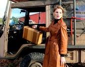 Leather Trench Coat / Vtg...