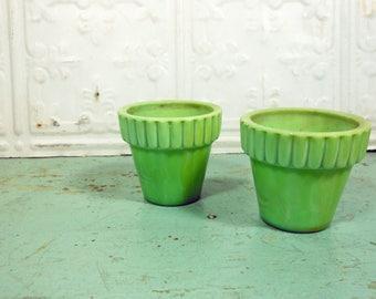 Pair of Small Vintage Akro Jadeite Flower Pots, Green Slag Glass Mini Pots
