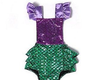 Baby Purple and Green Mermaid Ariel Infant Girl Baby Romper Sunsuit Bubble Sun Suit