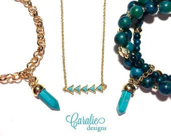 Turquoise + gold arrow necklace