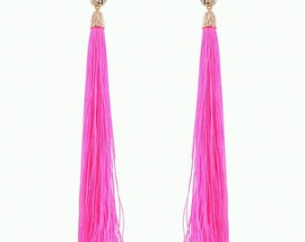 Neon Pink Shoulder Duster Tassel Earrings