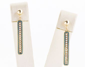 Antique Earrings - Antique 1900's 14k Yellow Gold Enamel & Seed Pearl Conversion Earrings